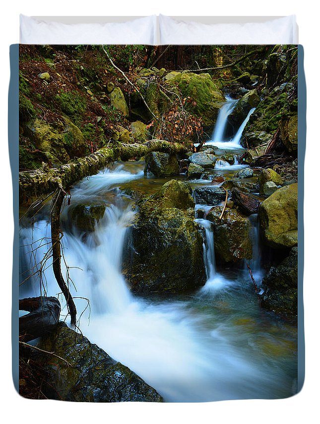 Water Duvet Cover featuring the photograph Mount Tam Waterfall by Christine Dorfer