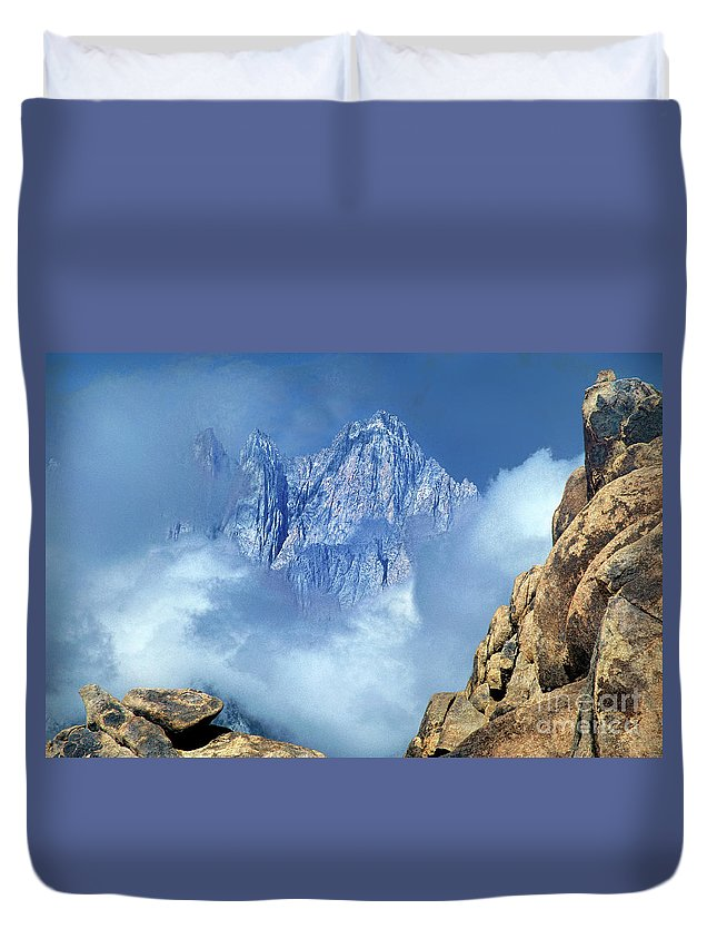 Eastern Sierras Duvet Cover featuring the photograph Mount Whitney Clearing Storm Eastern Sierras California by Dave Welling
