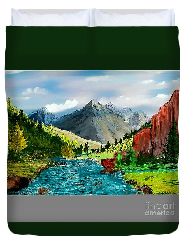 Digital Photograph Duvet Cover featuring the digital art Mountaian Scene by David Lane