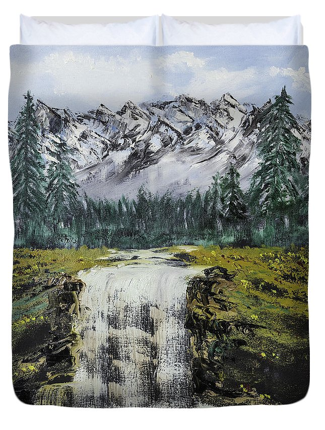Mountain Duvet Cover featuring the photograph Mountain And Waterfall by Jim McGraw
