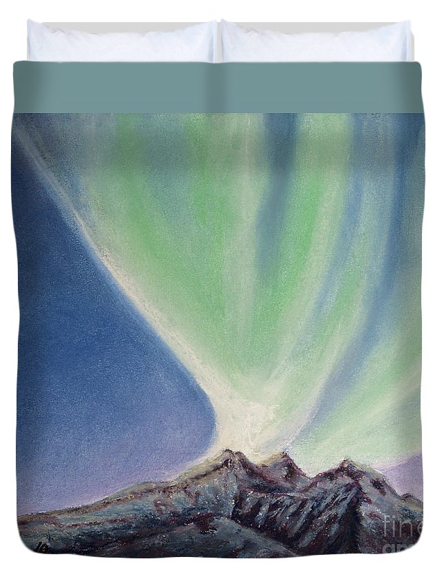 Northern Lights Duvet Cover featuring the painting Mountain Aurora by Stanza Widen