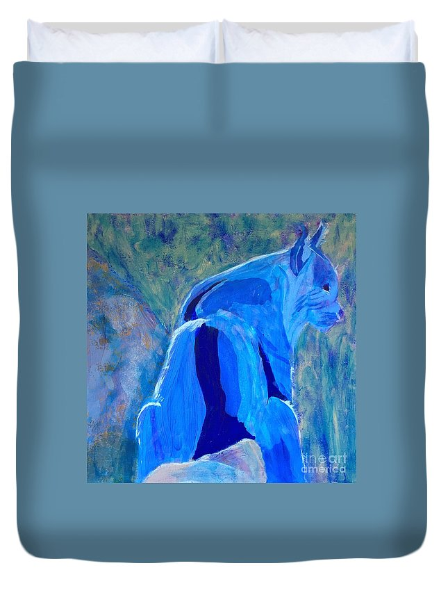 Bobcat Duvet Cover featuring the painting Mountain Bobcat by Donald J Ryker III