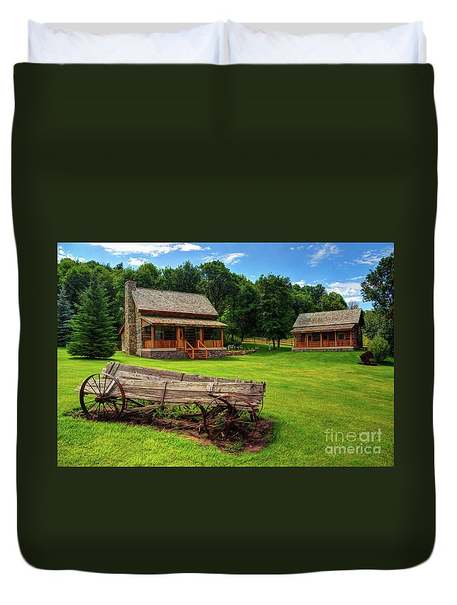 Log Cabin Duvet Cover featuring the photograph Mountain Cabin - Rural Idaho by Gary Whitton