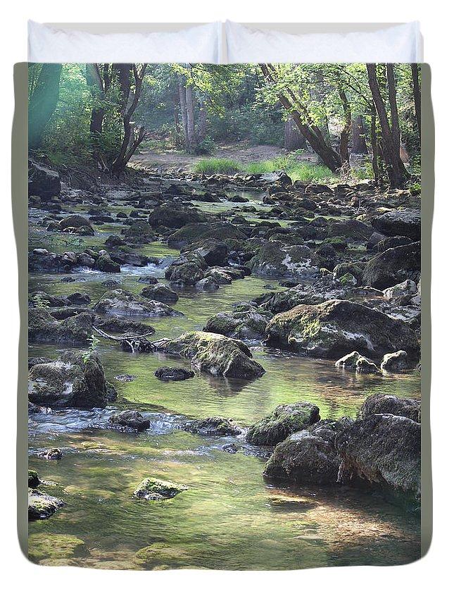 Creek Duvet Cover featuring the photograph Mountain Creek Nature Spring Scene by Goce Risteski