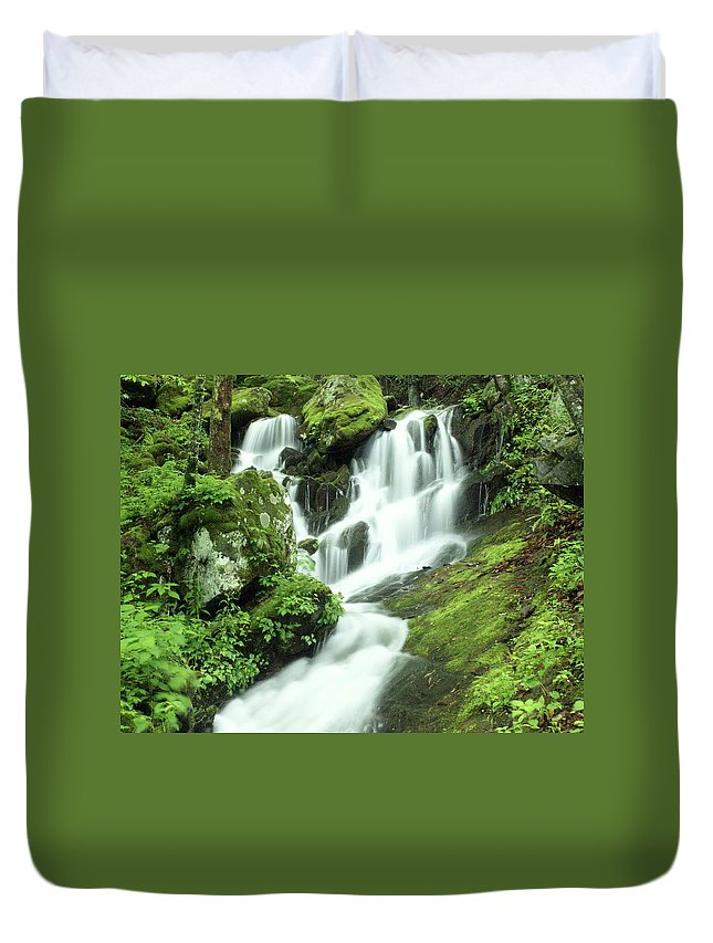 Waterfalls Duvet Cover featuring the photograph Mountain Falls by Marty Koch