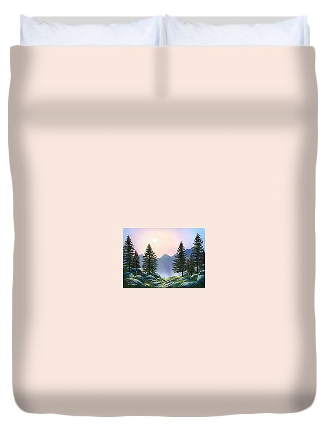 Landscape Duvet Cover featuring the painting Mountain Firs by Frank Wilson