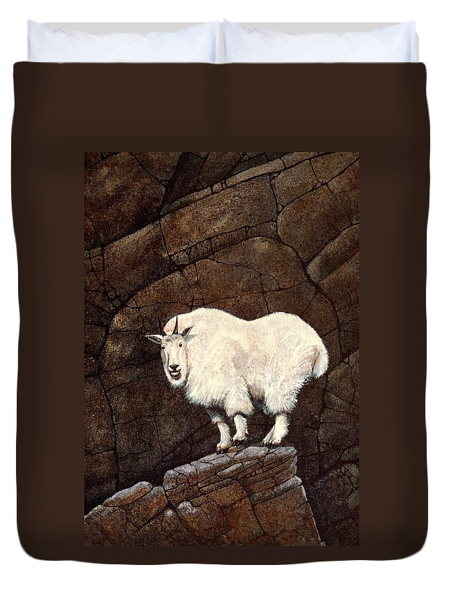 Wildlife Duvet Cover featuring the painting Mountain Goat by Frank Wilson