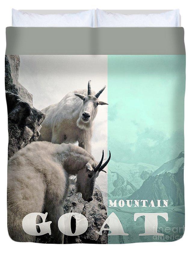 Mountain Goat Duvet Cover featuring the photograph Mountain Goats by Zena Zero