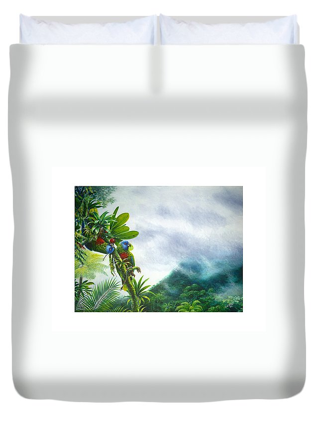Chris Cox Duvet Cover featuring the painting Mountain High - St. Lucia Parrots by Christopher Cox