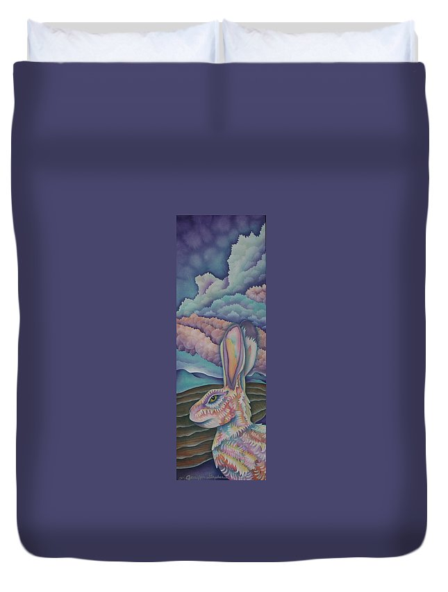 Rabbit Duvet Cover featuring the painting Mountain King by Jeniffer Stapher-Thomas