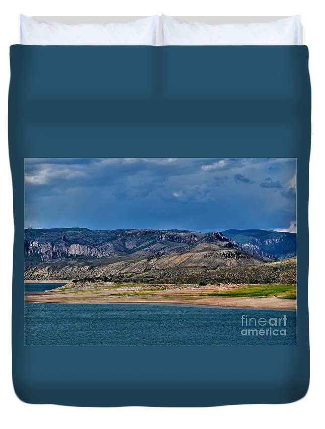 Beautiful Mountains With Shadows Duvet Cover featuring the photograph Mountain Lake Dark Clouds Looming by Gero