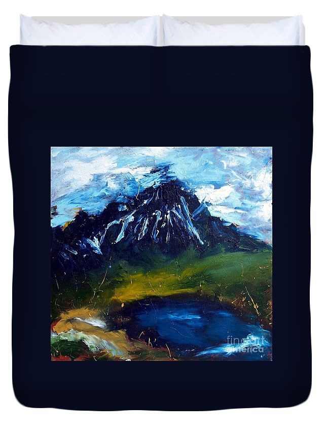 Acrylic Abstract Painting Duvet Cover featuring the painting Mountain Lake by Lidija Ivanek - SiLa