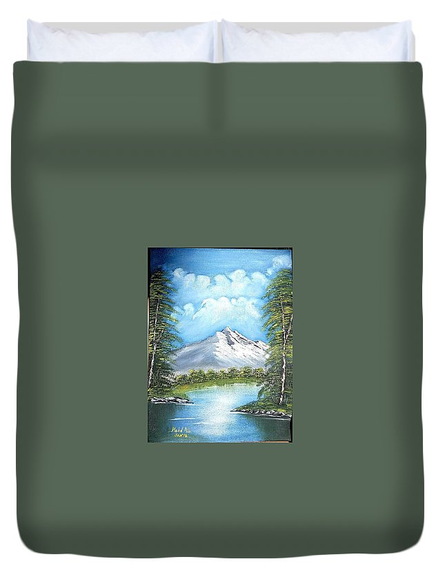 Landscape Duvet Cover featuring the painting Mountain Landscape by Mohamad Ali