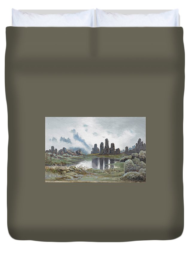 William Charles Piguenit Duvet Cover featuring the painting Mountain Landscape by William Charles Piguenit
