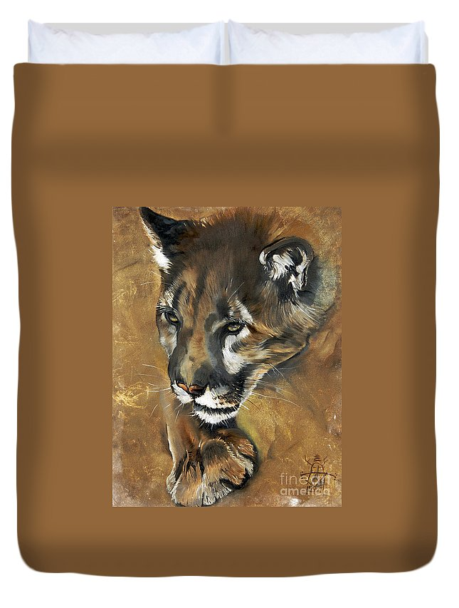 Southwest Art Duvet Cover featuring the painting Mountain Lion - Guardian Of The North by J W Baker