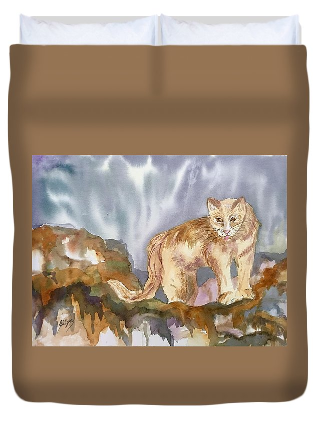 Mountain Lion Duvet Cover featuring the painting Mountain Lion On The Rocks by Ellen Levinson