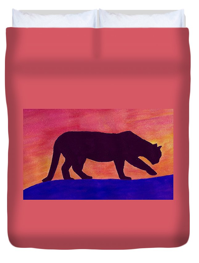 mountain Lion Duvet Cover featuring the painting Mountain Lion Silhouette by Michael Vigliotti