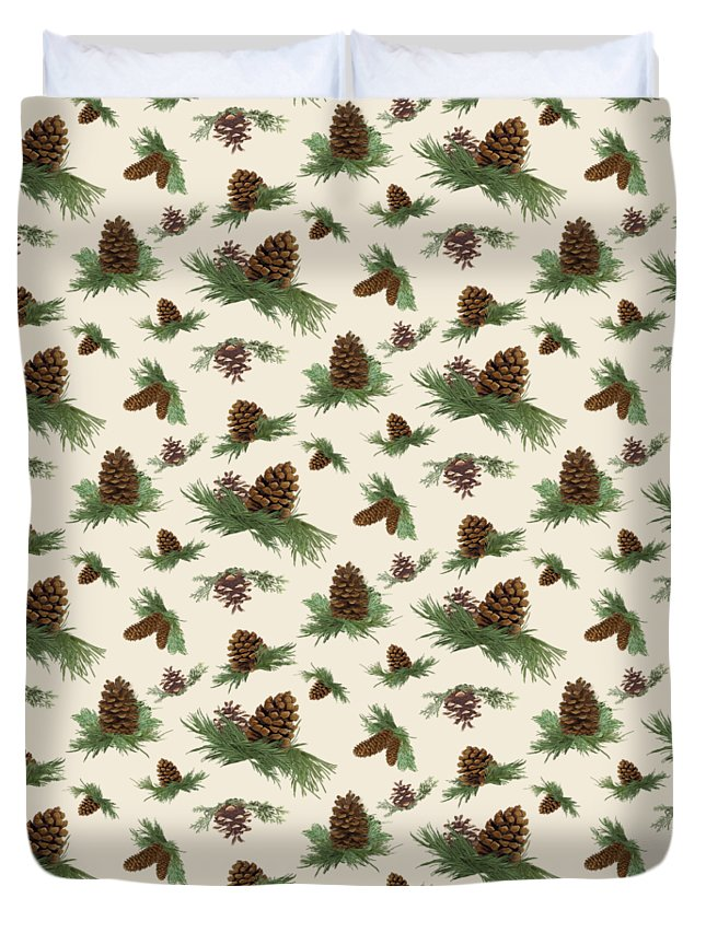 Pine Cones Duvet Cover featuring the painting Mountain Lodge Cabin In The Forest - Home Decor Pine Cones by Audrey Jeanne Roberts
