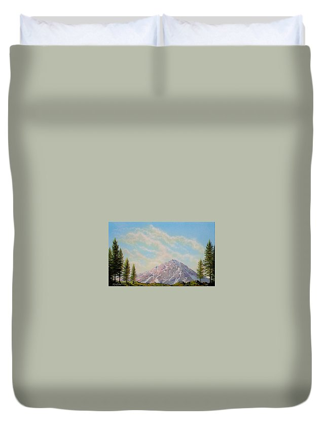 Wildflowers Duvet Cover featuring the painting Mountain Majesty by Frank Wilson