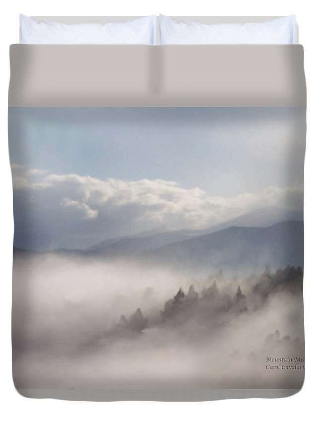 Mountain Duvet Cover featuring the mixed media Mountain Mist by Carol Cavalaris