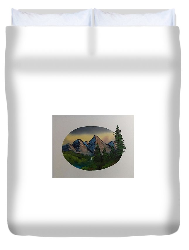 Duvet Cover featuring the painting Mountain Oval by Shane Stephens