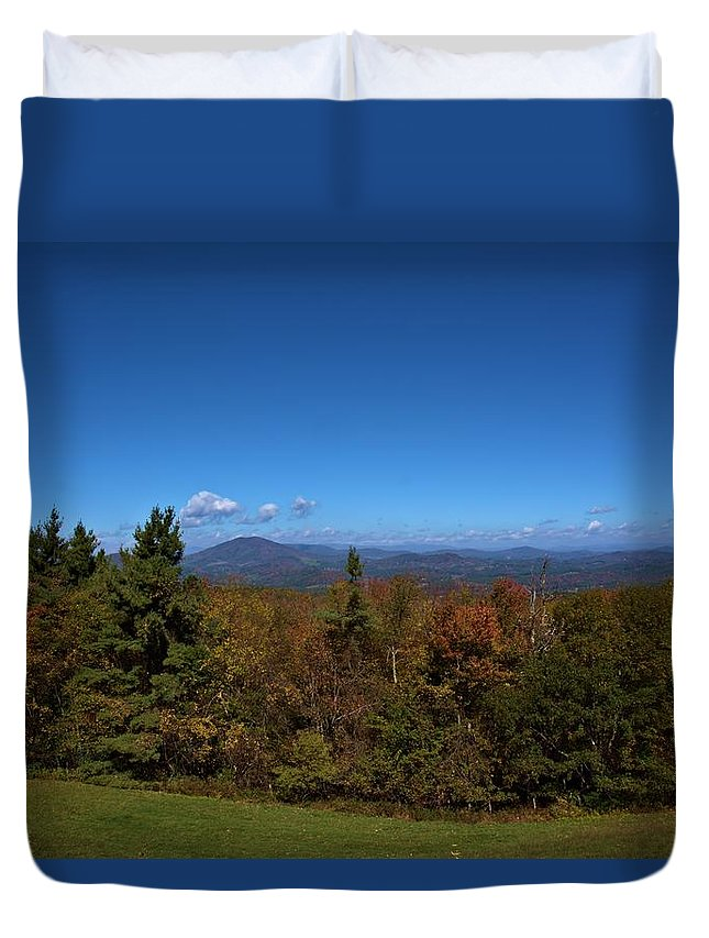 Landscape Duvet Cover featuring the photograph Mountain Overlook by Larry Jones