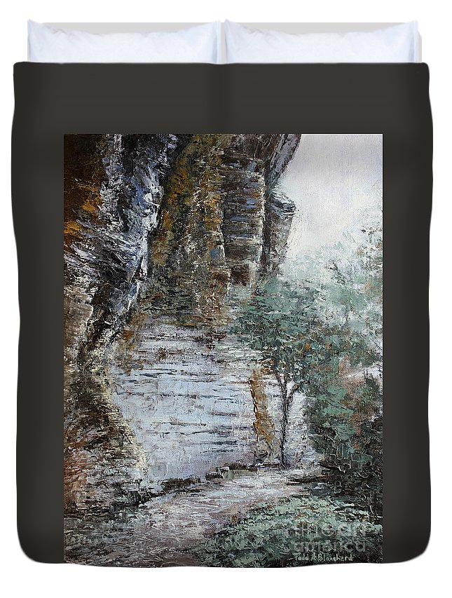 Landscape Duvet Cover featuring the painting Mountain Pass by Todd Blanchard