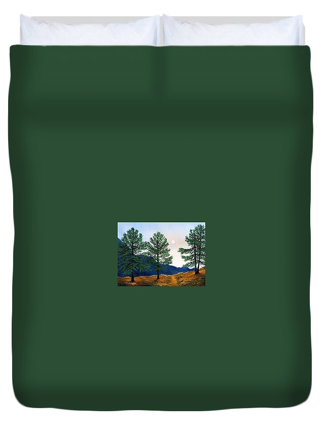 Duvet Cover featuring the painting Mountain Pines by Frank Wilson