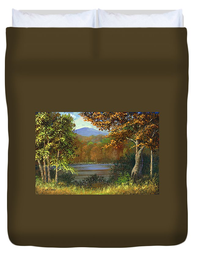 Landscape Duvet Cover featuring the painting Mountain Pond by Frank Wilson