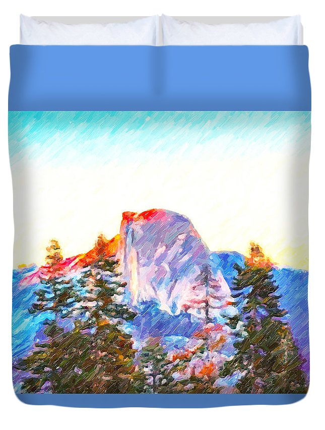 Mountain Range In Yosemite National Park Duvet Cover featuring the painting Mountain Range In Yosemite National Park by Jeelan Clark