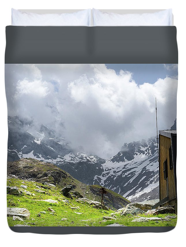 Mountain Landscape Duvet Cover featuring the photograph Mountain Refuge Of Mount Viso by Paul MAURICE