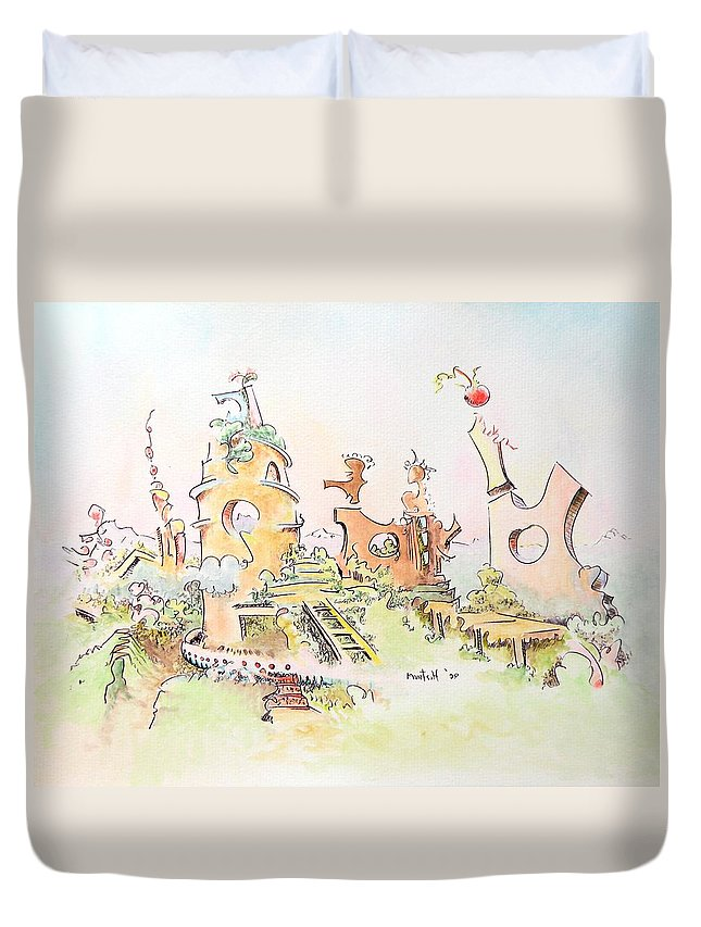 Landscape Duvet Cover featuring the painting Mountain Retreat by Dave Martsolf