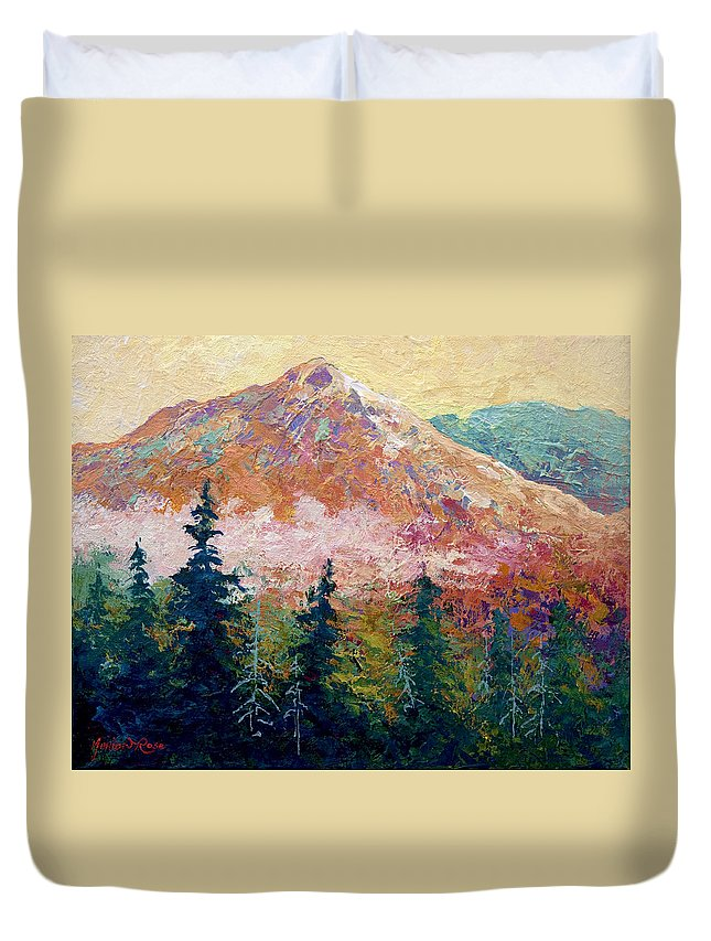 Trees Duvet Cover featuring the painting Mountain Sentinel by Marion Rose