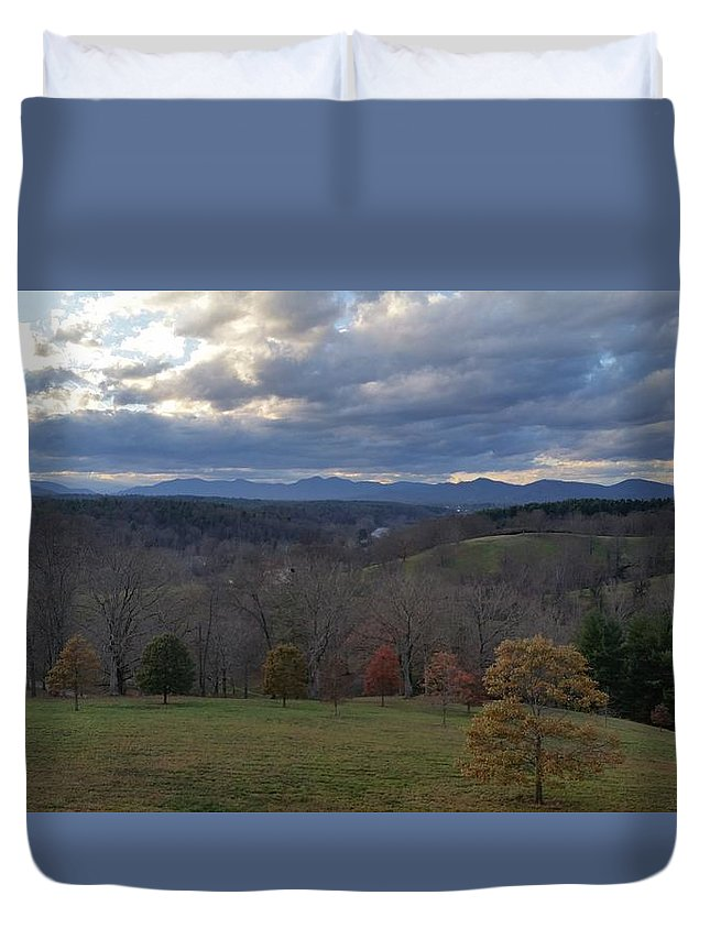 Mountain Duvet Cover featuring the photograph Mountain Skyline by Jeff Harrell Jr