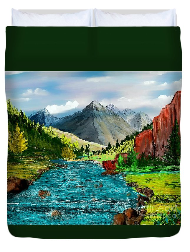Nature Duvet Cover featuring the digital art Mountain Stream by David Lane