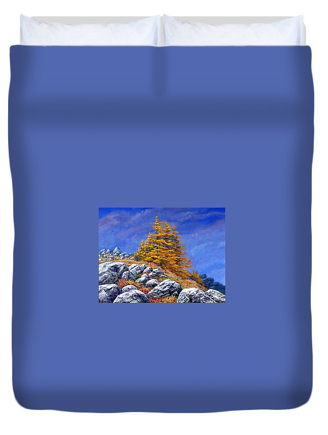 Mountains Duvet Cover featuring the painting Mountain Tamaracks by Frank Wilson