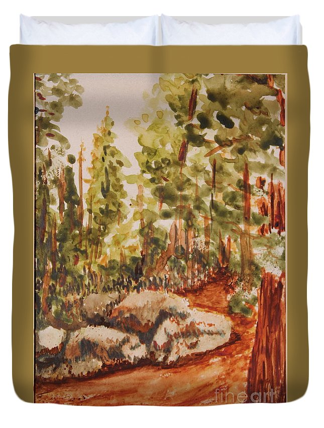 Watercolor Duvet Cover featuring the painting Mountain Trail by Ann Sokolovich
