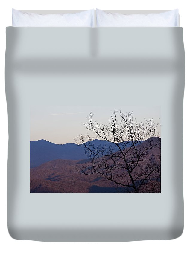 Tree Mountain Mountains Sun Sunset Sky Winter Smoky Park National Duvet Cover featuring the photograph Mountain Tree by Andrei Shliakhau