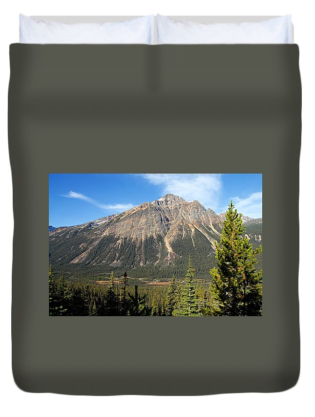 Jasper National Park Duvet Cover featuring the photograph Mountain View 1 by Larry Ricker
