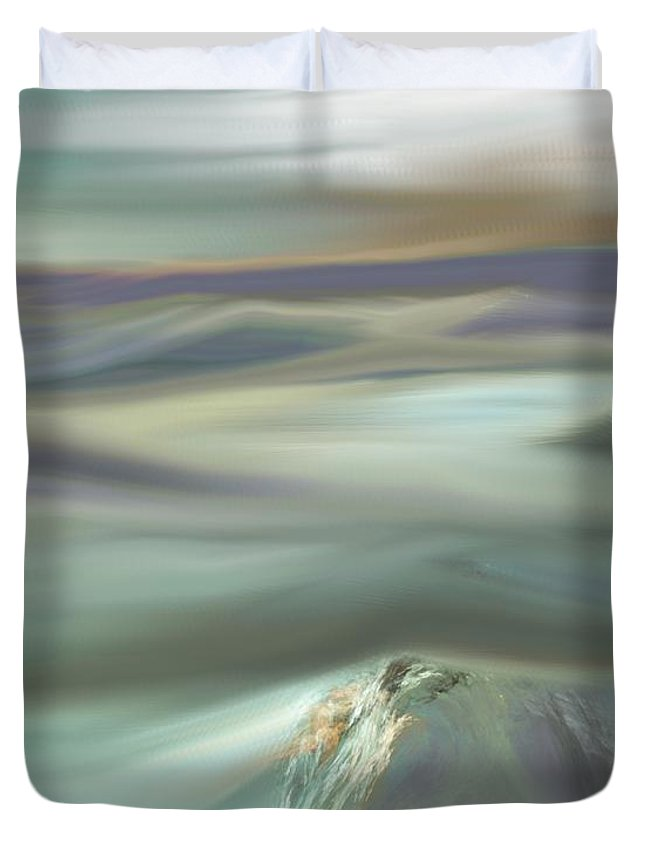 Fine Art Duvet Cover featuring the digital art Mountain View by David Lane