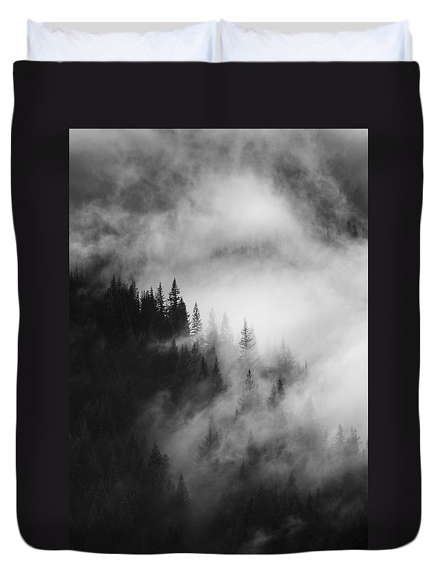 Forest Duvet Cover featuring the photograph Mountain Whispers by Mike Dawson