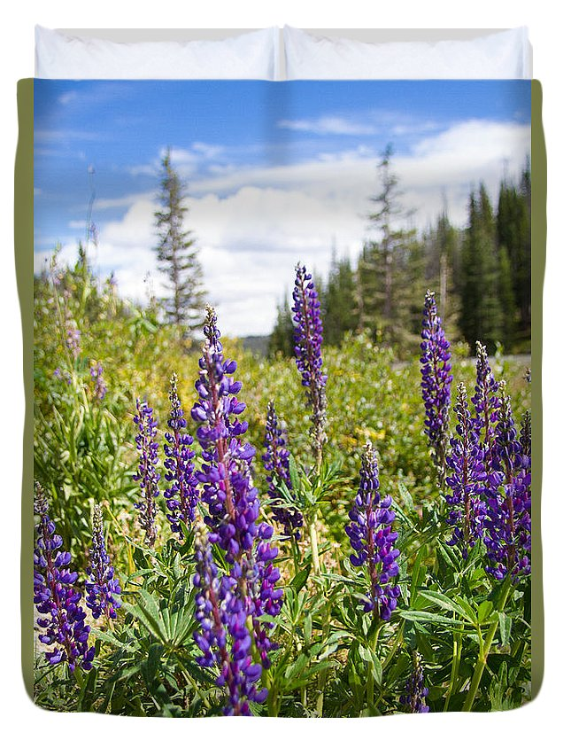 Flowers Duvet Cover featuring the photograph Mountain Wildflowers by John Vial