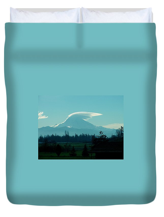 Lenticular Duvet Cover featuring the photograph Mountain Wings by Shirley Heyn