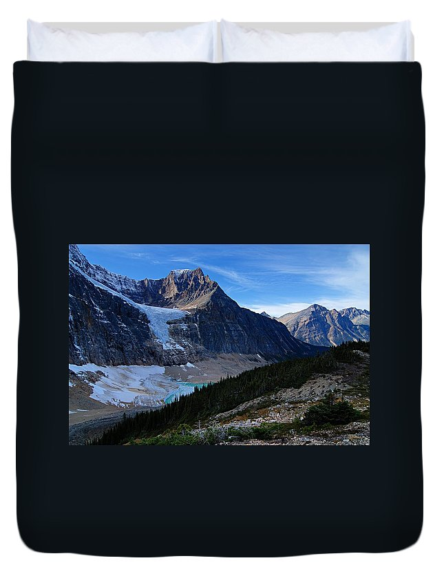 Mount Edith-cavell Duvet Cover featuring the photograph Mountains And Glaciers by Larry Ricker