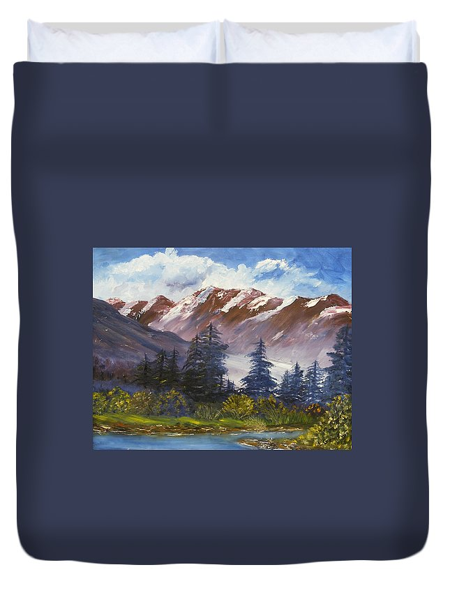 Oil Painting Duvet Cover featuring the painting Mountains I by Lessandra Grimley