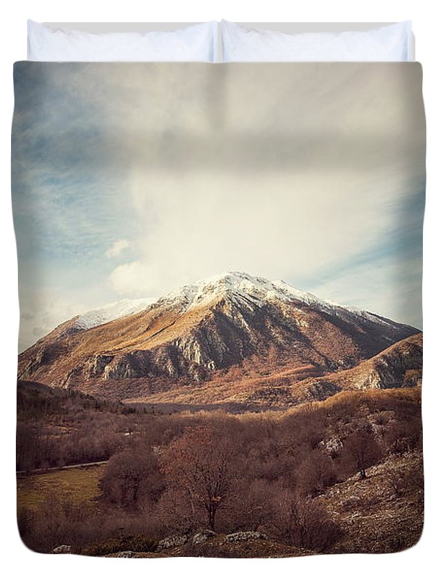 Landscape Duvet Cover featuring the photograph Mountains In The Background Xvii by Salvatore Russolillo