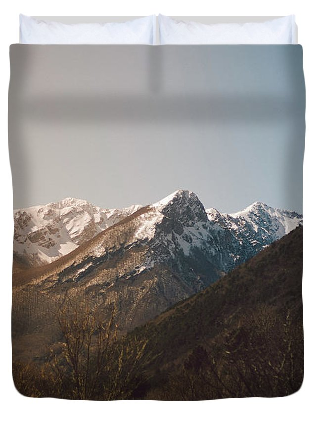 Background Duvet Cover featuring the photograph Mountains In The Background Xviii by Salvatore Russolillo