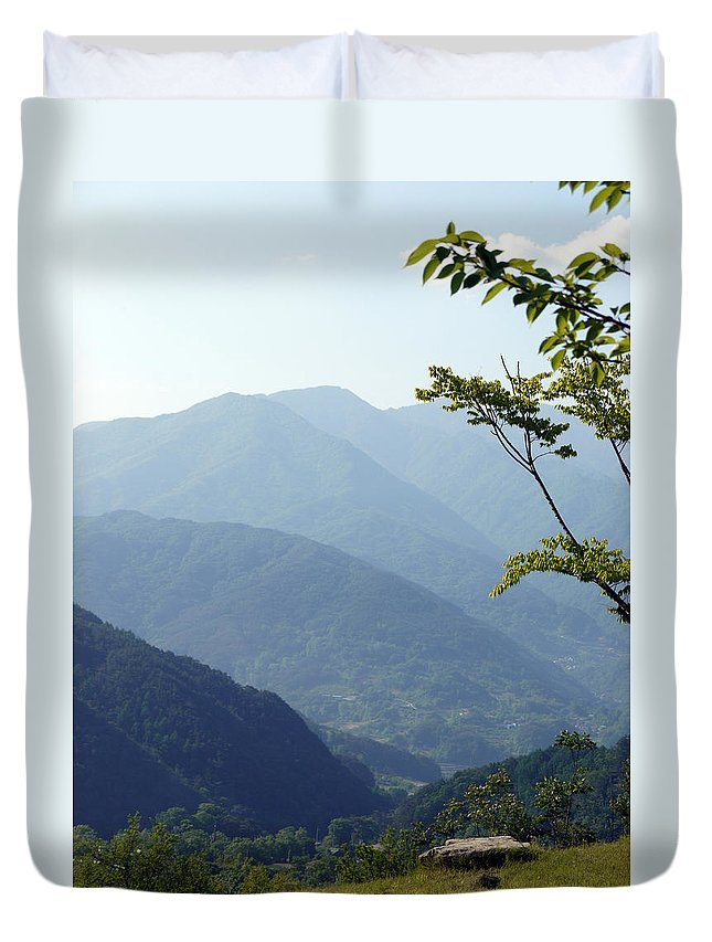 Sunny Duvet Cover featuring the photograph Mountains by Josh Kim