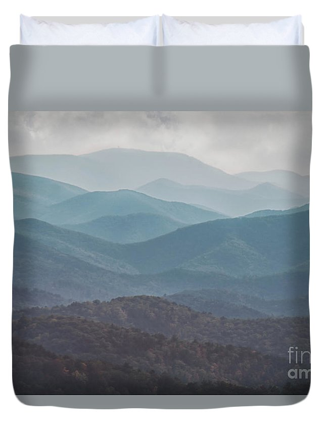 Abstract Duvet Cover featuring the photograph Mountains On Blue Ridge Parkway by Tom Gari Gallery-Three-Photography