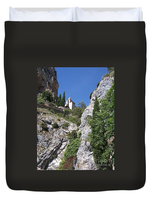 Church Duvet Cover featuring the photograph Moustier St. Marie Church by Nadine Rippelmeyer